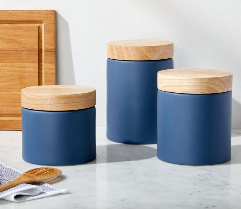 Blue Canisters on kitchen counter