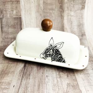 handmade butter dish with zebra